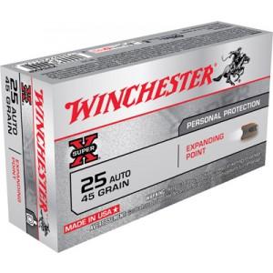 Winchester 25 ACP Super X Centerfire Expanding Point 45 Grain 50 Round Box X25AXP