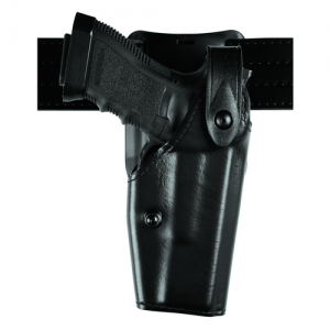 6285 Low Ride SLS Hooded Duty Holster Finish: Plain Gun Fit: Kimber Custom TLE/RL with Surefire X200 (5  bbl) Hand: Right - 6285-5340-61