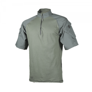 Tru Spec Combat Shirt Men's 1/4 Zip Short Sleeve in Olive Drab - Large
