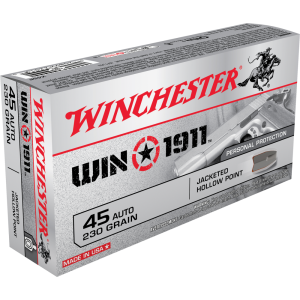 Winchester Win1911 .45 ACP Jacketed Hollow Point, 230 Grain (50 Rounds) - X45P