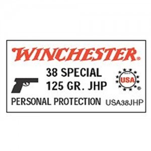 Winchester .38 Special Jacketed Soft Point, 125 Grain (50 Rounds) - USA38SP