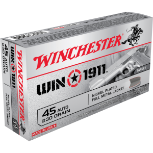 Winchester Ammunition Win1911 .45 ACP Full Metal Jacket, 230 Grain (50 Rounds) - X45T