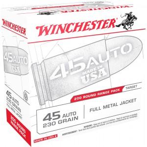 Winchester Ammunition .45 ACP Full Metal Jacket, 230 Grain (200 Rounds) - USA45W