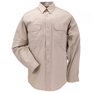 5.11 Tactical Taclite Pro Men's Long Sleeve Uniform Shirt in TDU Khaki - Large