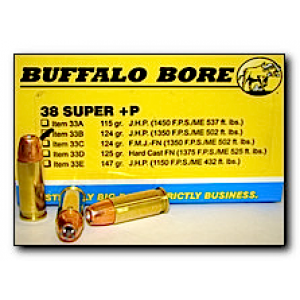 Buffalo Bore Ammunition .38 Super Jacketed Hollow Point, 124 Grain (20 Rounds) - 33B/20