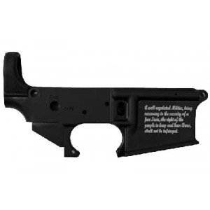 Stag Arms Llc Salwr2, 2nd Amendment Engraving, Stripped Lower Receiver, Semi-automatic, 223 Rem/556nato, Black Finish Salwr2