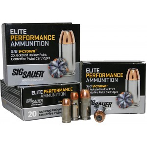 Sig Sauer V-Crown 9mm Jacketed Hollow Point, 115 Grain (20 Rounds) - E9MMA1-20