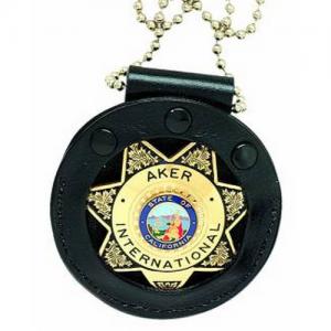 Aker Leather Neck Start Badge Holder in Black - A599-BP