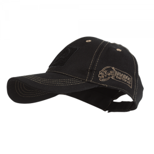 Voodoo Classic Cap With Removable Flag Patch Cap in Black with Coyote Stitching - One Size Fits Most