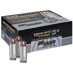 Sig Sauer V-Crown 10mm Jacketed Hollow Point, 180 Grain (20 Rounds) - E10MM1-20