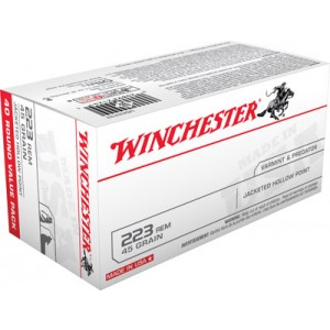 Winchester Best Value .223 Remington/5.56 NATO Jacketed Hollow Point, 45 Grain (40 Rounds) - USA2232