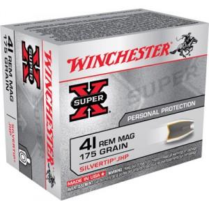 Winchester Super-X .41 Remington Magnum Silvertip HP, 175 Grain (20 Rounds) - X41MSTHP2