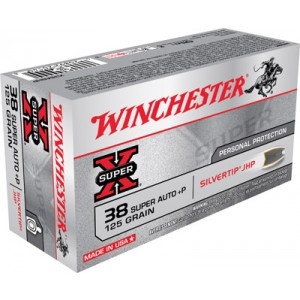 Winchester Super-X .38 Super Silvertip HP, 125 Grain (50 Rounds) - X38ASHP
