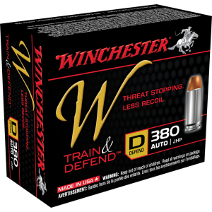 Winchester W Train & Defend .380 ACP Jacketed Hollow Point, 95 Grain (20 Rounds) - W380D