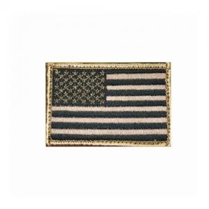 American Flag Patch -w/Hook &    American Flag Patch -w/hook & loop Tan/Black Embroidered with matching border Come with hook & loop for quick on-off capability 2 X 3