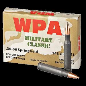 Wolf Performance Ammo Military Classic .30-06 Springfield Full Metal Jacket, 145 Grain (500 Rounds) - MC3006FMJ145