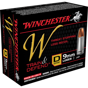 Winchester W Train & Defend 9mm Jacketed Hollow Point, 147 Grain (20 Rounds) - W9MMD