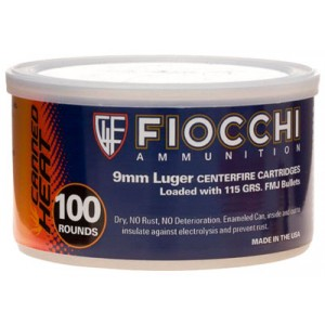 Fiocchi Ammunition Canned Heat 9mm Full Metal Jacket, 115 Grain (100 Rounds) - 9CAP