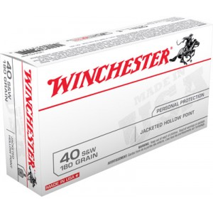 Winchester .40 S&W Jacketed Hollow Point, 180 Grain (50 Rounds) - USA40JHP