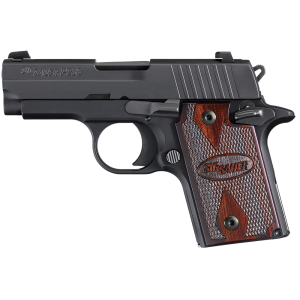 "Sig Sauer P938 Micro-Compact Rosewood MA Compliant 9mm 6+1 3"" Pistol in Black Nitron (Rosewood Grip) - 938M9RGAMBI"