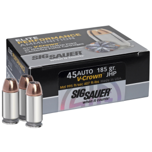 Sig Sauer V-Crown .45 ACP Jacketed Hollow Point, 185 Grain (20 Rounds) - E45AP0-20