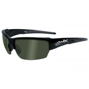 Wiley X Saint, Sunglasses, Small To Medium Head Size, Gloss Black Frame, Polarized Smoke Green Lens, Ansi Approved Chsai04