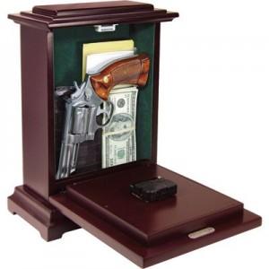 PSPI RGCBLK Concealment Rectangle Gun Clock 13x9x6 Wood Black
