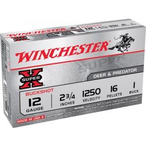 "Winchester Super-X .12 Gauge (2.75"") 1 Buck Shot Lead (5-Rounds) - XB121"