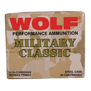Wolf Performance Ammo Military Classic .30-06 Springfield Full Metal Jacket, 168 Grain (500 Rounds) - MC3006FMJ168