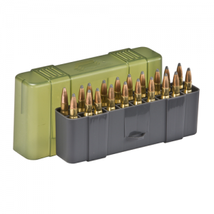 Large Rifle Ammo Case holds 20 rounds of .30-06, 7mm Mag, .25-06 Rem, .270, .280 Rem, .338 Win. Mag, and .340 Wby. Mag Caliber Bullets