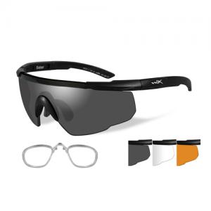 Wiley X - Sabre Advanced Lens Color / Frame Color: Smoke Grey & Light Rust & Clear / Matte Black / RX Insert
