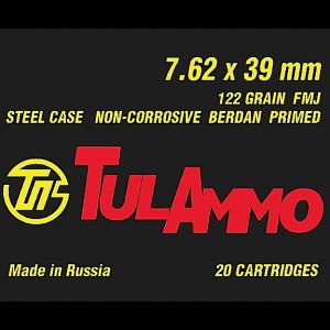 TulAmmo 7.62X39 Full Metal Jacket, 124 Grain (20 Rounds) - UL076200