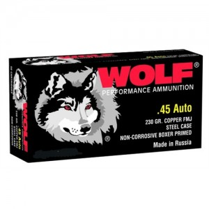 Wolf Performance Ammo .45 ACP Full Metal Jacket, 230 Grain (50 Rounds) - 45FMJ50