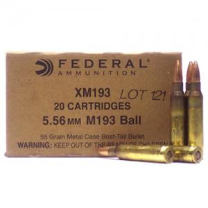 Federal Cartridge .223 Remington/5.56 NATO Boat Tail Metal Case, 55 Grain (20 Rounds) - XM193F