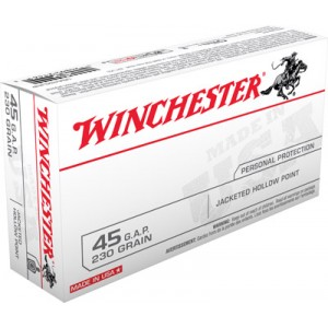 Winchester .45 Glock Jacketed Hollow Point, 230 Grain (50 Rounds) - USA45GJHP