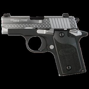 "Sig Sauer P238 Micro-Compact Diamond Plate MA Compliant .380 ACP 6+1 2.7"" Pistol in Two Two - Black Nitron (SIGLITE Night Sights) - 238M380DP"