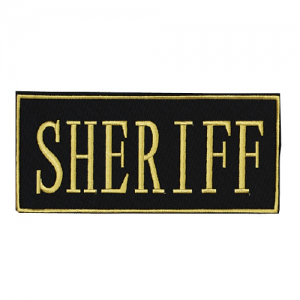 Law Enforcement Patches Color: Yellow 9  x 4 1/8  Patch Logo: Sheriff