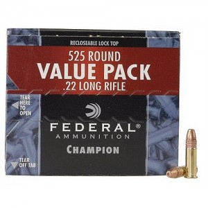 Federal Cartridge Champion Target .22 Long Rifle Copper Plated Hollow Point, 36 Grain (525 Rounds) - 745