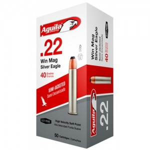 Aguila .22 Winchester Magnum (WMR) Silver Eagle 40 Grain Jacketed Soft Point 50 Round Box 1B222400