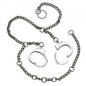 S&W 1800 Nickel Waist Chain. The Model 1800 has the Model 100 handcuff positioned at each hip allowing for either parallel arm, or cross arm handcuffing. The special 54 inch heat treated steel chain includes padlock rings for waist size adjustments.  Two