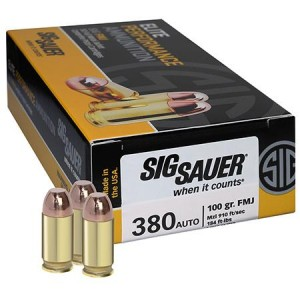 Sig Sauer .380 ACP Full Metal Jacket, 100 Grain (50 Rounds) - E380B1-50