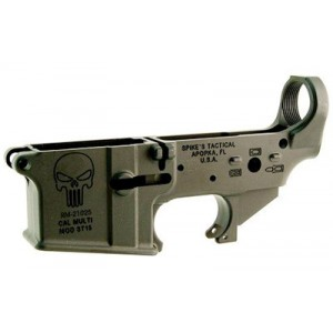 Spike's Tactical Stripped Lower, Punisher, Color Filled, Semi-automatic, 223 Rem/556nato, Black Finish Stls015-ce