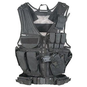 Global Military Gear Tactical Vest in Synthetic Black - One Size Fits Most