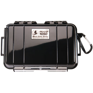 """Pelican 1050 Micro Case 6x3x2"""" Watertight Clear Poly w/Black Rubber Liner"""