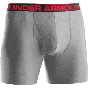 """Under Armour BoxerJock 9"""" Men's Underwear in True Gray Heather /Red - X-Large"""