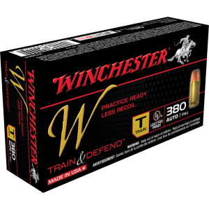 Winchester W Train & Defend .380 ACP Full Metal Jacket, 95 Grain (50 Rounds) - W380T
