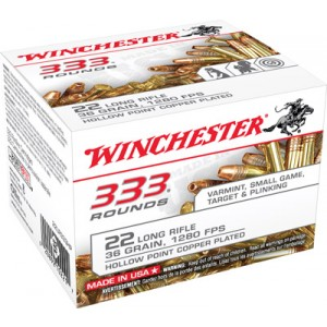 Winchester .22 Long Rifle Copper Plated Hollow Point, 36 Grain (3330 Rounds) - 22LR333HPCS
