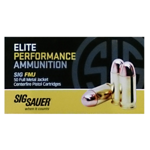 Sig Sauer .38 Super Full Metal Jacket, 125 Grain (50 Rounds) - E38SUB-50