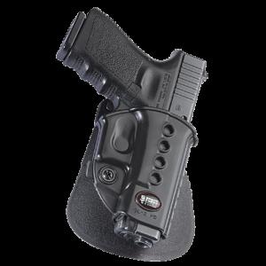 Fobus USA Evolution Right-Hand Paddle Holster for Glock 17, 19, 22, 23, 26, 27, 33, 34, 35 in Black - GL2E2