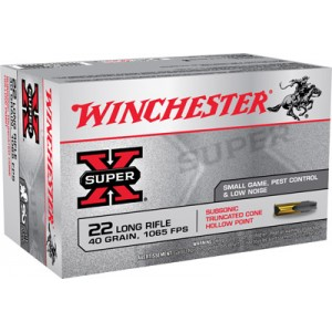 Winchester Super-X .22 Long Rifle Truncated Cone Hollow Point, 40 Grain (50 Rounds) - X22LRSUBA